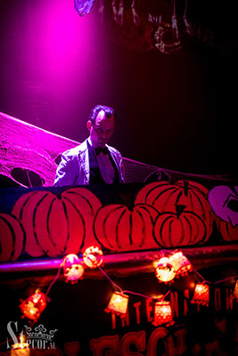 dj dr Hirschfeld at the Los Muertos Halloween edition of the International Burlesque Circus