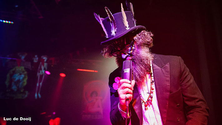 the resident host Mr Weird Beard at the Los Muertos Halloween edition of the International Burlesque Circus